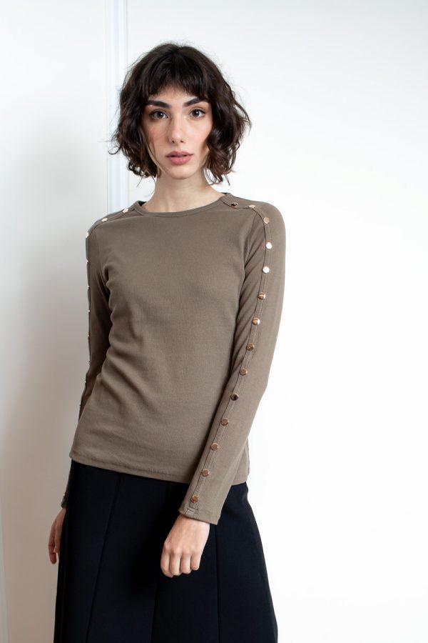 חולצת בייסיק תיקתקים-אפור