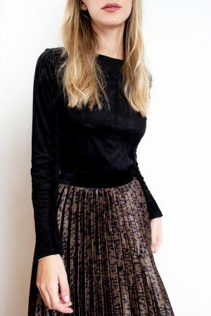 חצאית פליסה מנומרת -ארוך