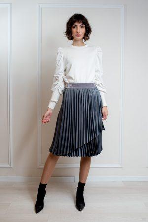 חצאית פליסה מעטפת סאטן