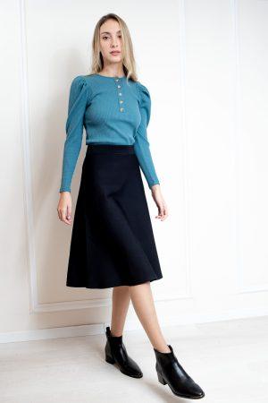 חצאית סריג בייסיק מתרחבת-שחור