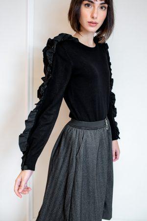 חצאית מתרחבת וריצרץ-אפור