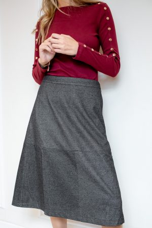 חצאית A תיפורים-אפור כהה