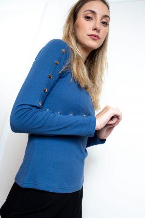 חולצת בייסיק תיקתקים-כחול