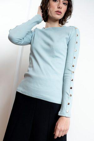 חולצת בייסיק תיקתקים-תכלת