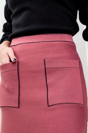 חצאית סריג כיסים-פודרה
