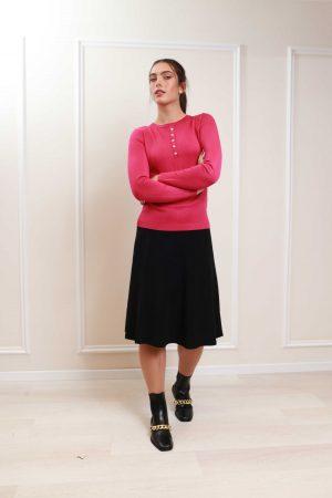 חצאית סריג מתרחבת-שחור