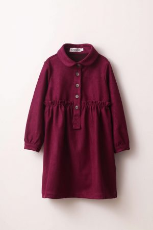 שמלה מכופתרת-בורדו