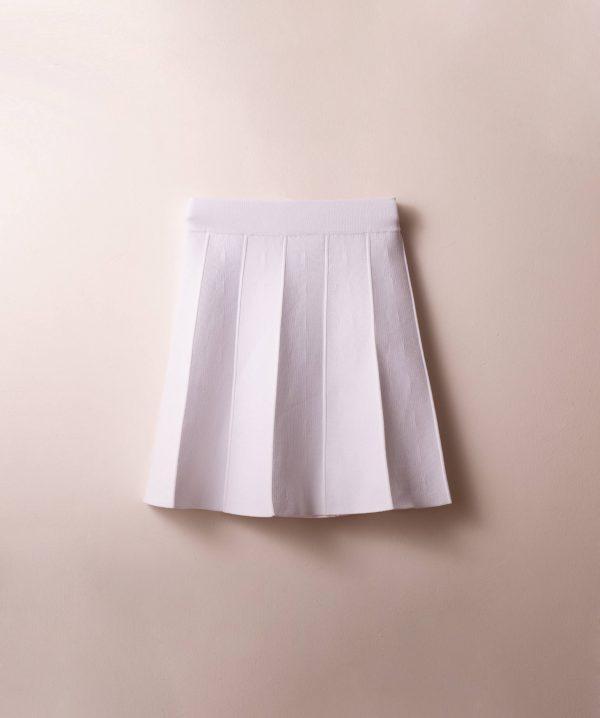 חצאית סריג חלקים לבן