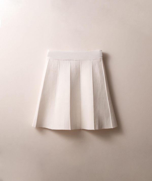 חצאית סריג חלקים שמנת
