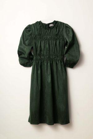 שמלת ג'רסי שרוול נפוח ירוק