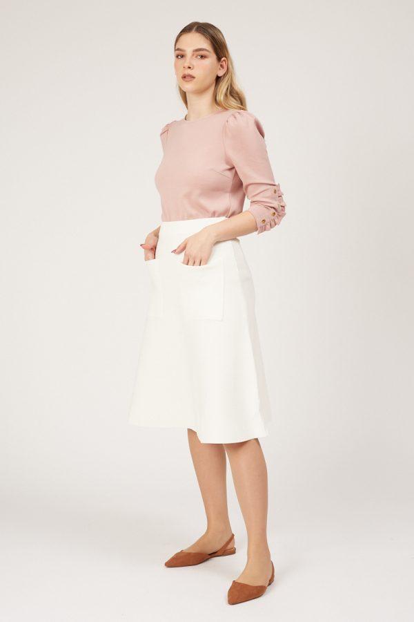 חצאית סריג פס בצד -לבן