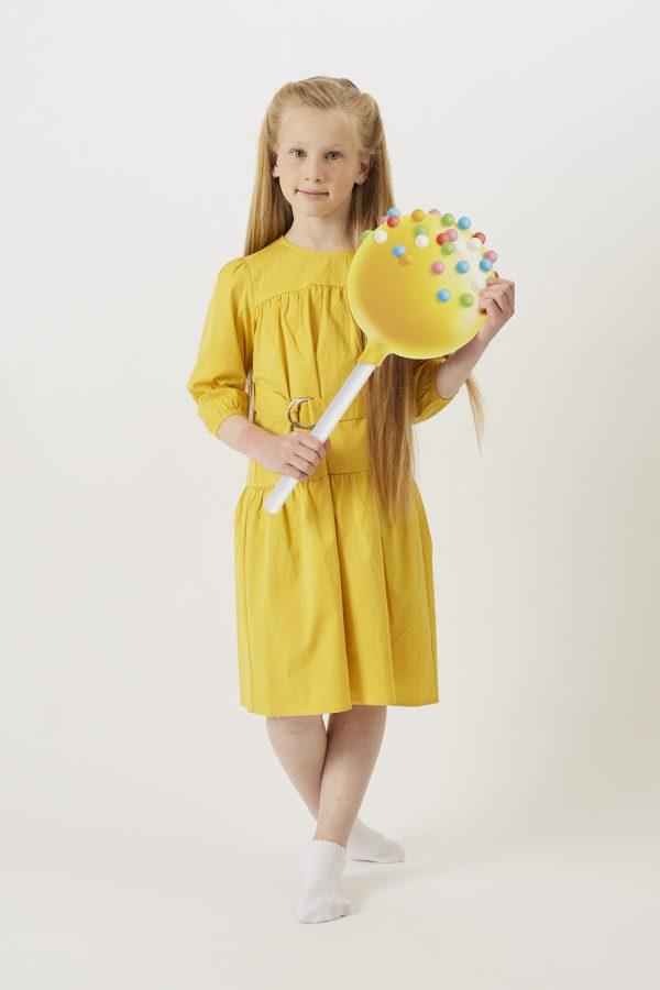 חולצה שרוול בנפח עדין-צהוב
