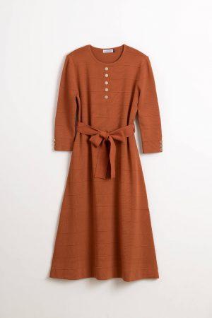 שמלת סריג קשירה-חום