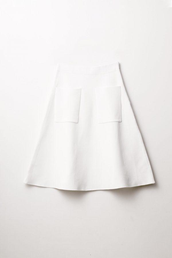 חצאית סריג כיסים-אפור