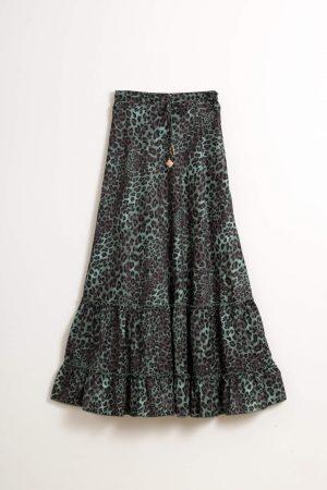 חצאית מקסי קומות-מנומר
