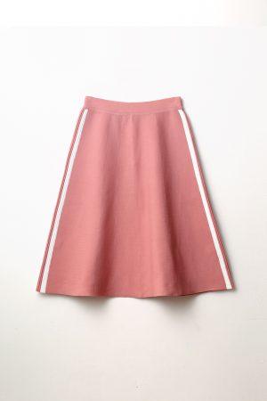 חצאית סריג פס בצד -תכלת