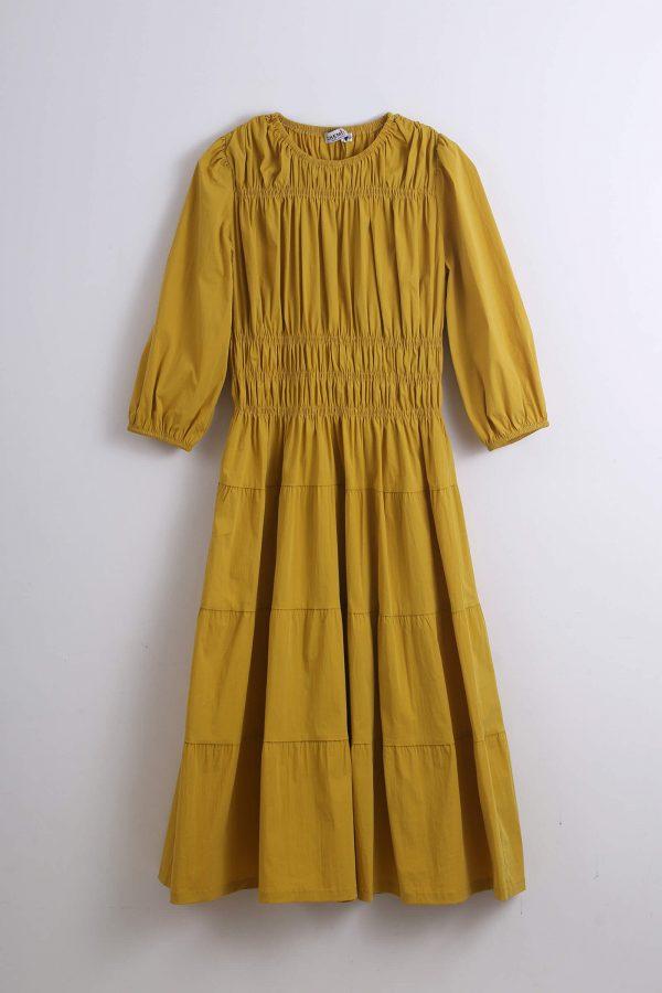 שמלת גומי כיווצים-חרדל