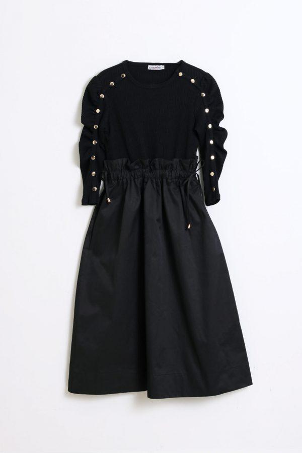 שמלת כיווץ במותן-שחור