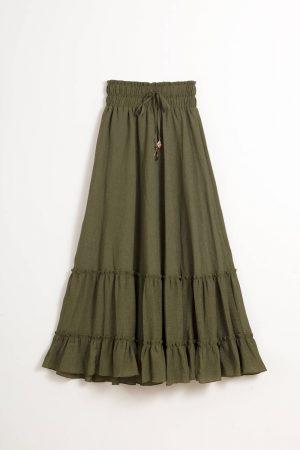 חצאית מקסי גסקה כיווצים-ירוק זית