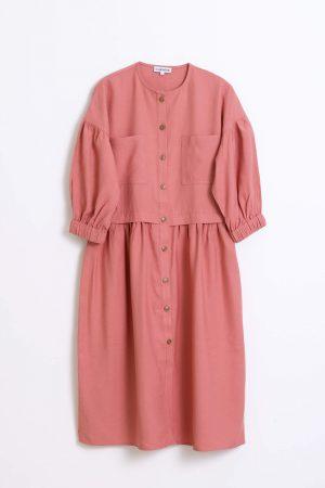 שמלת חתך מלמלה-ורוד