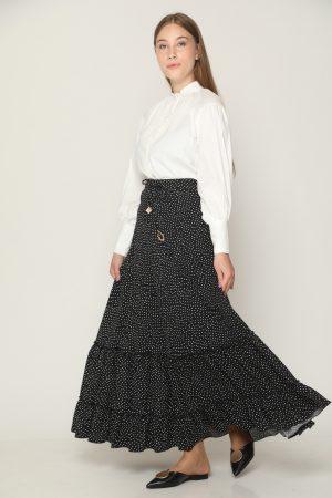 חצאית מקסי קומות-שחור לבן