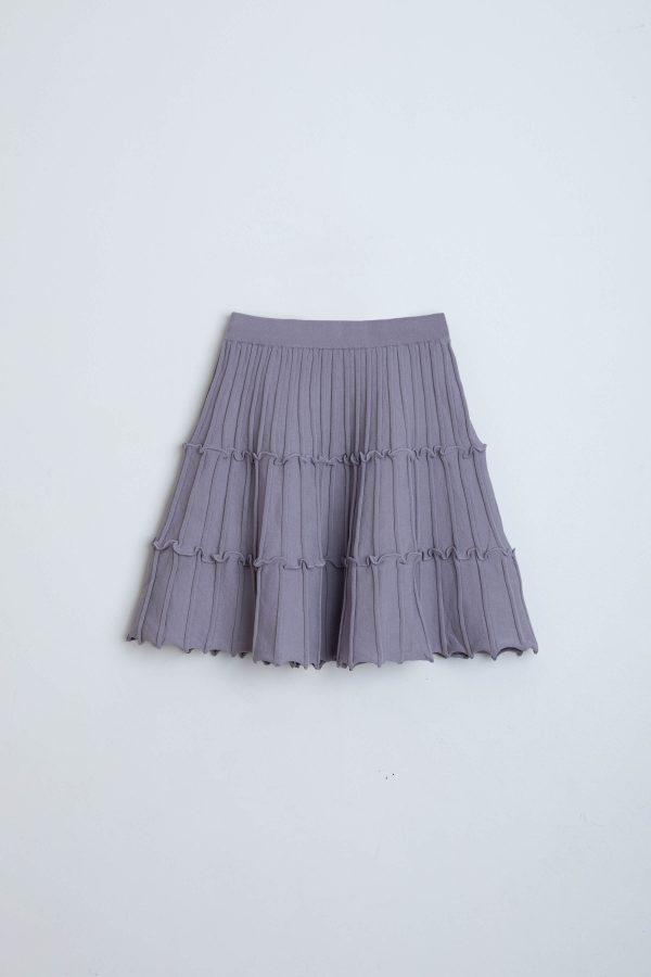 חצאית סריג קומות אפור