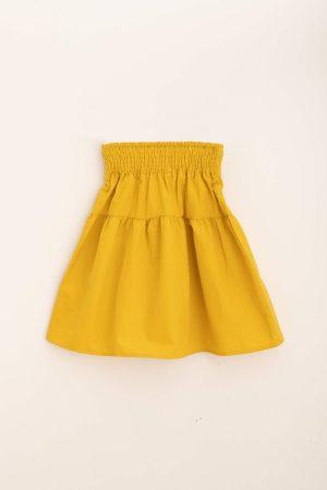 חצאית קומה כותנה-צהוב