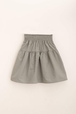 חצאית קומה כותנה-אפור