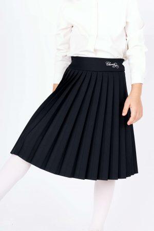 חצאית פליסה לוגו - כחול