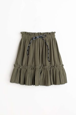 חצאית קומה קשירה שמיז - זית