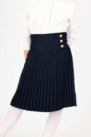 חצאית סקול כפתורים במותן - כחול