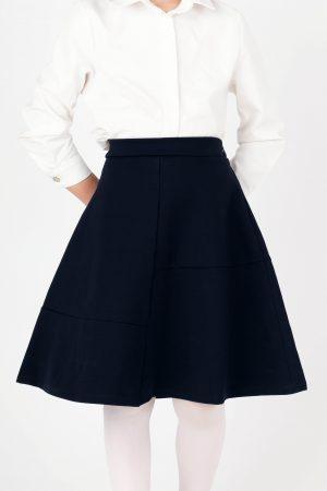 חצאית גרסי מתרחבת חתך - כחול