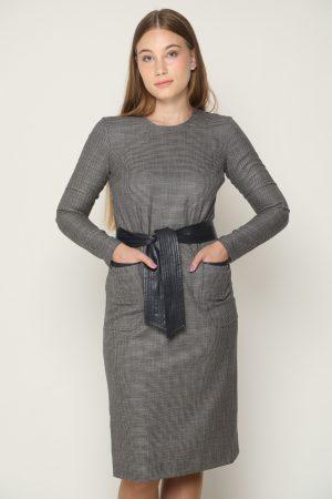 שמלת כיסים בשילוב עור - נייבי
