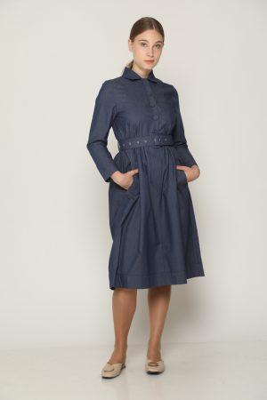שמלת צווארון וחגורה - ג'ינס
