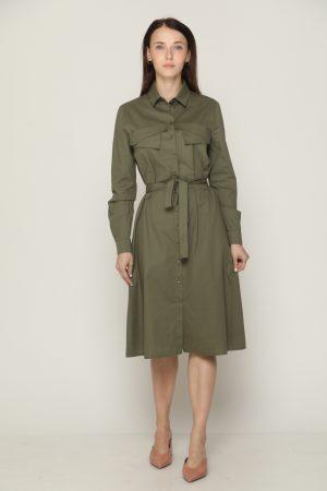 שמלת כיסים וקשירה - ירוק