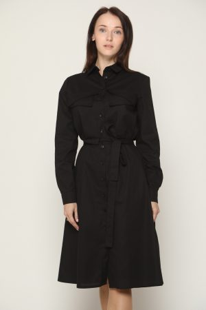 שמלת כיסים וקשירה - שחור