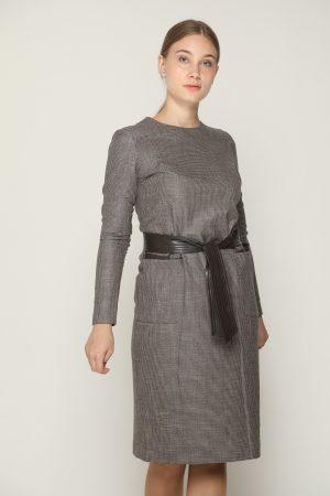 שמלת כיסים בשילוב עור - חום