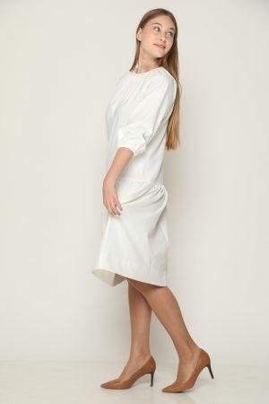 שמלת קומה ושרוולים נפוחים - לבן