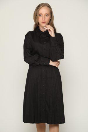 שמלת צווארון פליסה - שחור