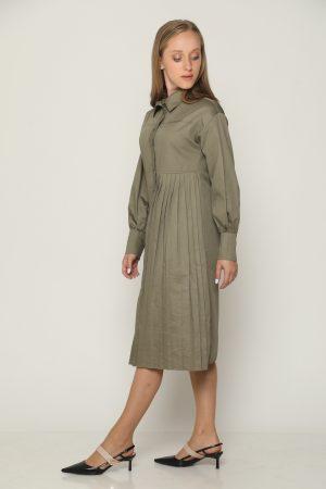 שמלת צווארון פליסה - ירוק