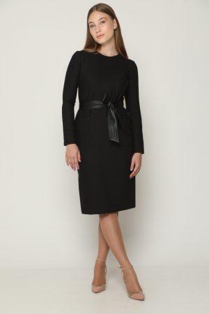 שמלת כיסים בשילוב עור - שחור