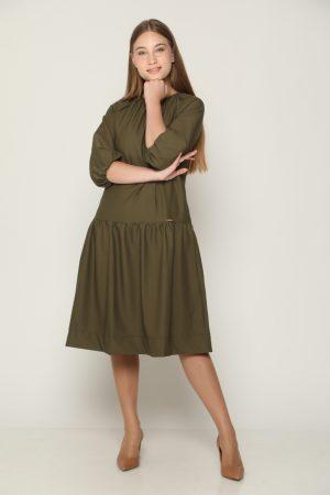 שמלת קומה ושרוולים נפוחים - ירוק
