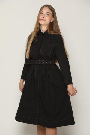 שמלת צווארון וחגורה - שחור