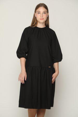 שמלת קומה ושרוולים נפוחים - שחור